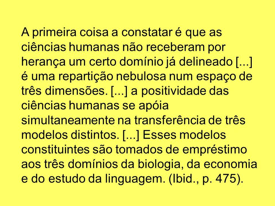 A primeira coisa a constatar é que as ciências humanas não receberam por herança um certo domínio já delineado [...] é uma repartição nebulosa num espaço de três dimensões.